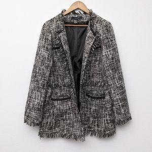 Sandro Fringe Tweed Blazer Jacket XL